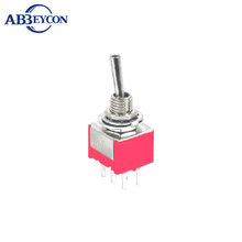 TL53 MTS-223-A2 Momentary Mini Toggle Switch 6A 125V DPDT 3 Position (ON)-OFF-(ON) Spring Loaded