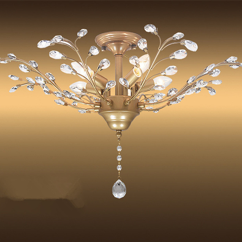 Led Mediterranean home household decorative tree Crystal Ceiling creative chandelier Light