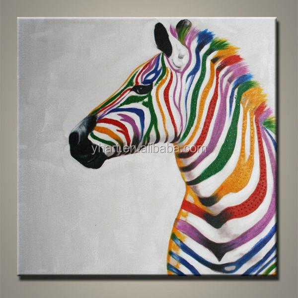 beliebten modernen handgefertigt abstrakte bunte zebra gem lde an der wand malerei. Black Bedroom Furniture Sets. Home Design Ideas