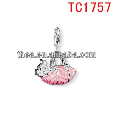 TC1757 stainless steel cute westie pink-enamelled adornments pendant&charm jewelry