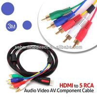 3 M HDMI to 5 RCA Audio Video AV Component Cable