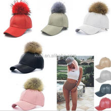 Wholesale Real Raccoon Fur Pom Pom Baseball Cap and Hat