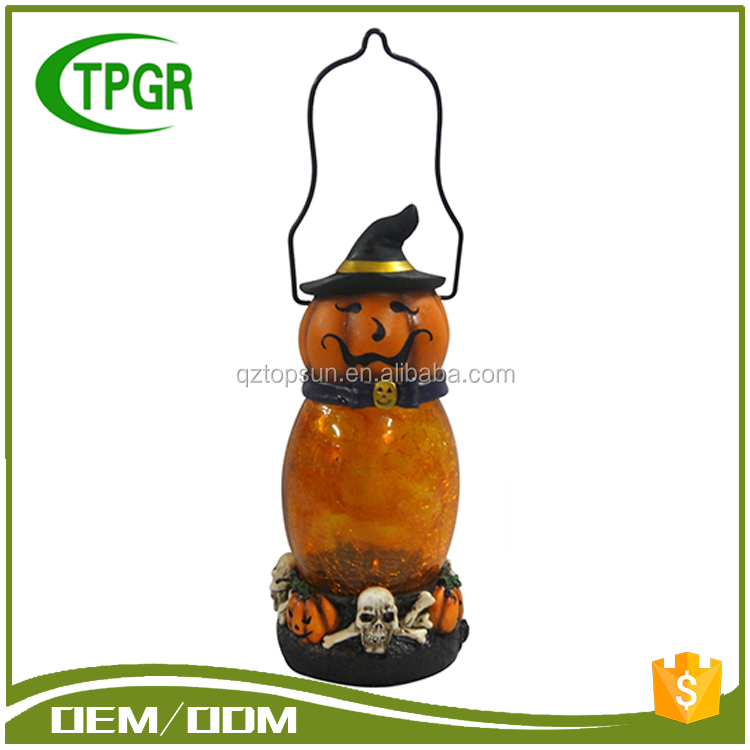 Cheap Wholesale Halloween Decorative Pumpkin Crafts Glass Material Lantern Led Solar Lantern