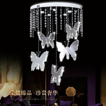 modern chrome butterfly crystal chandelier