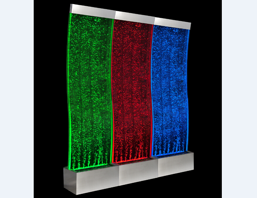 Floor standing large acrylic water bubble wall with multi color LED light for room divider