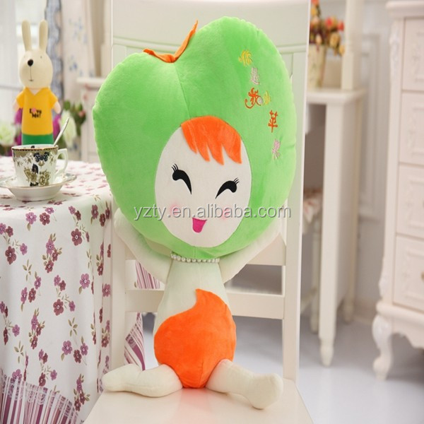 Funny fruit carton shaped stuffed apple neck pillow