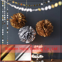 3 mixed size Sparkling metallic tissue paper pom poms for home decoration