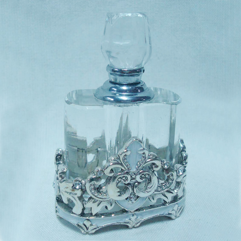 Vintage Antique Silver Plated Jeweled Pewter Perfume Bottle With Clear Crystal(P23007m)