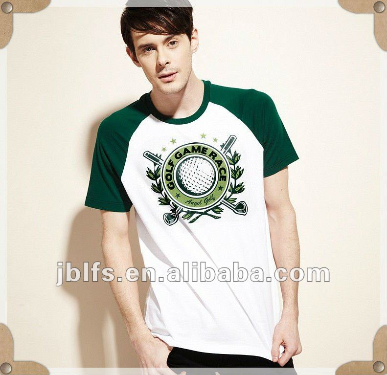 2012 new stylish Golf game race printed short sleeves branded t shirt for men