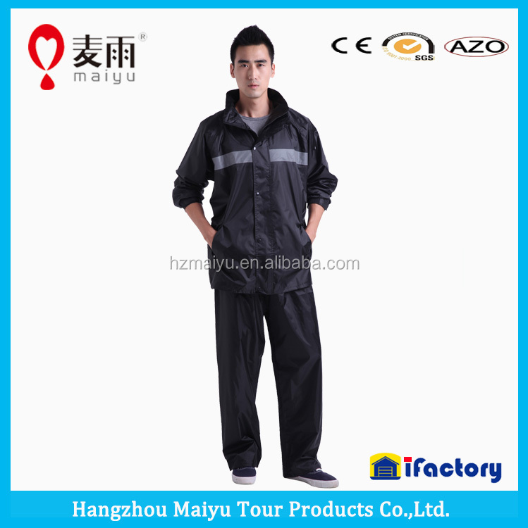 maiyu 170T/ 190T/210T polyester black rubber rain suit for adult