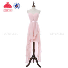 Pink Bridesmaid Dress 2018 Cheap Short Front Long Back Sweetheart Sash Pleated High Quality