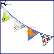 Hstyle Fabric Party Bunting Multi Coloured Spots and Stripes Pattern Flags PL026
