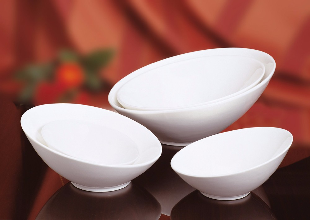 Eco-friendly Tableware Special Design White Large Ceramic Fruit Salad Bowl