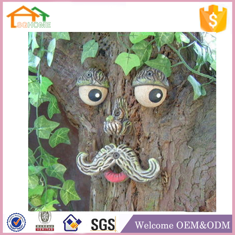 Custom made garden decor polyresin tree face