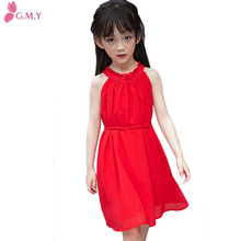 pakistani red chiffon sleeveless pleated children frocks designs