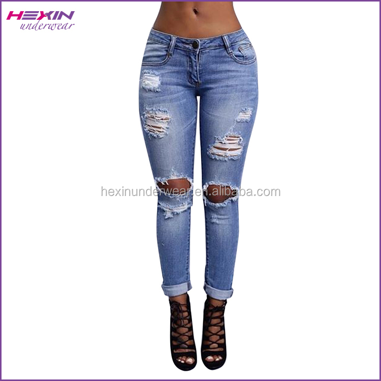 China Manufacturer Ripped Light Washed New Style Fashion Girls Jeans