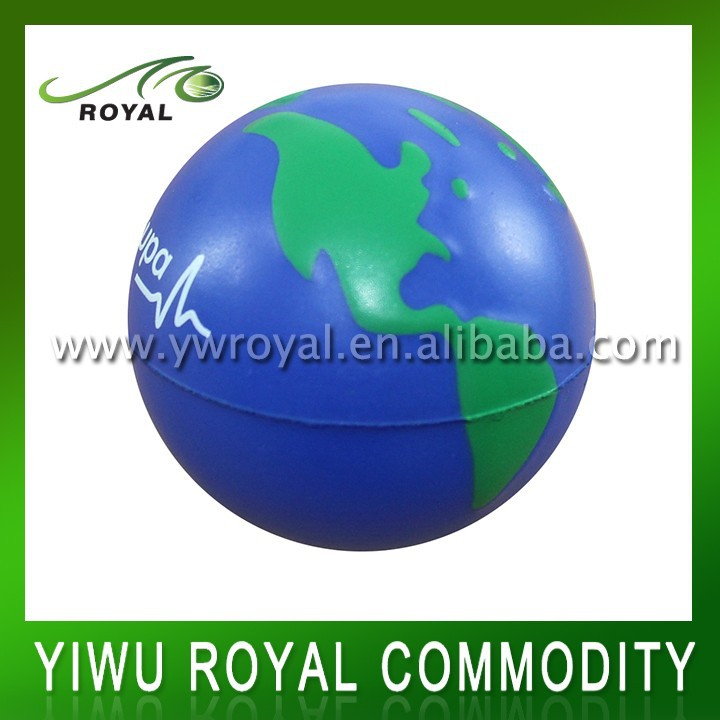 Wholesale Squeeze Foam Earth Stress Printed PU Ball