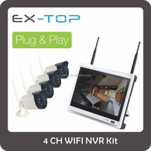 4CH 720P PLC survelliance system cctv camera nvr wireless kit with LCD