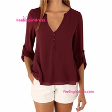 2017 No Moq Fat Women Ladies Chiffon Blouse