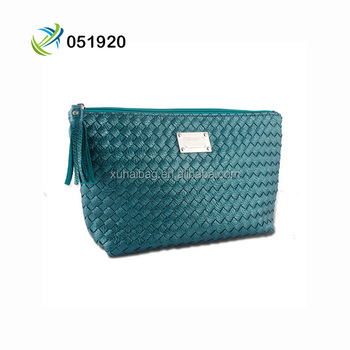 New arrival lady luxury PU weaving clutch bag and makeup purse bag