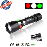 ALONEFIRE RX3-RWG USB power supply CREE XPE Q5 LED Red White Green Railway Maintenance personnel Signal lamp flashlight torches