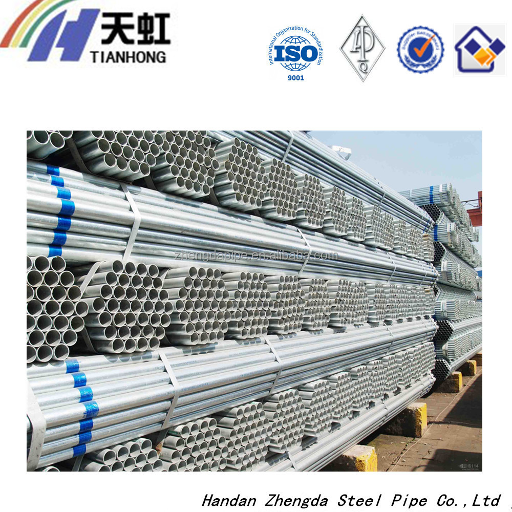 Round section shape and API certification thin wall galvanized steel pipe