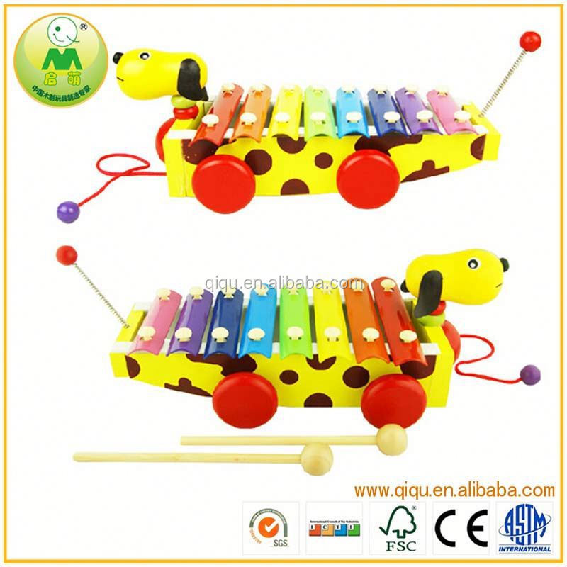 Small Yellow Dog Children Musical Wooden Toy piano