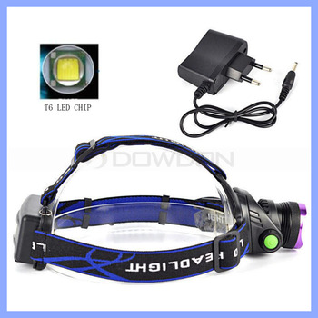 Ultra Bright XM-L T6 LED Rechargeable Torch Headlamp 2X 18650 battery and UK EU AC Charger Hiking Headlight Lamp