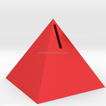 custom make toy pyramids pvc red money box,OEM design plastic red money box