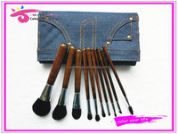 professional wooden makeup brush set 10pcs cosmetic brush kit with jeans bag