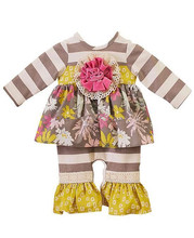 2017 fall boutique baby flower bodysuit floral ruffle infant baby girls stripes long sleeve romper