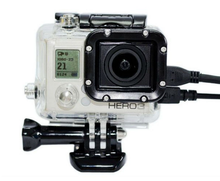 Skeleton Protective case Housing Side-opening & Backdoor with hole for Charging for Gopro Hero 3