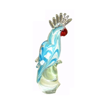 Murano glass animal parrot decoration with clear comb