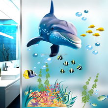 PVC new design Underwater world dolphin wall stickers for kids room decorative removable clear waterproof wall stickers