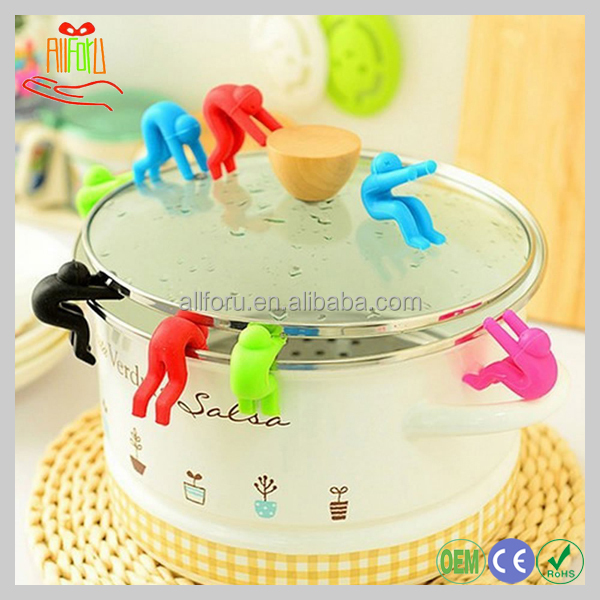 Eco Silicone Person Raise Up Anti Overflow Pot Lid Holder Silicone Lid Rack