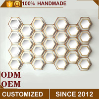 MYEE Metal Hexagonal Honeycomb Hanging Home Wall Decor with Mirror