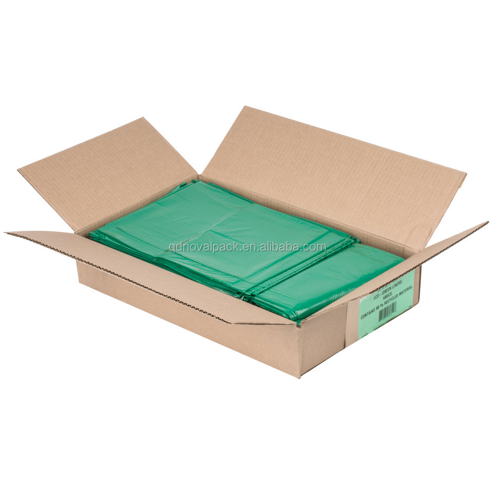 low density green trash can liners 55 gallon 1.25 mil plastic garbage bag flat packed