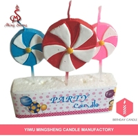 3pcs windmill shape colorful birthday cake candle