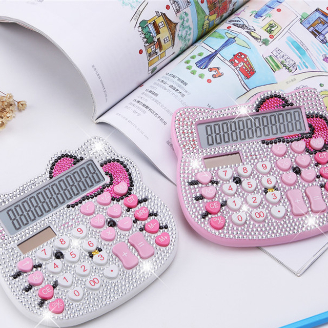 Stock!!! Kwaii calculater with crystals High quality custom for office girls China manufacturer