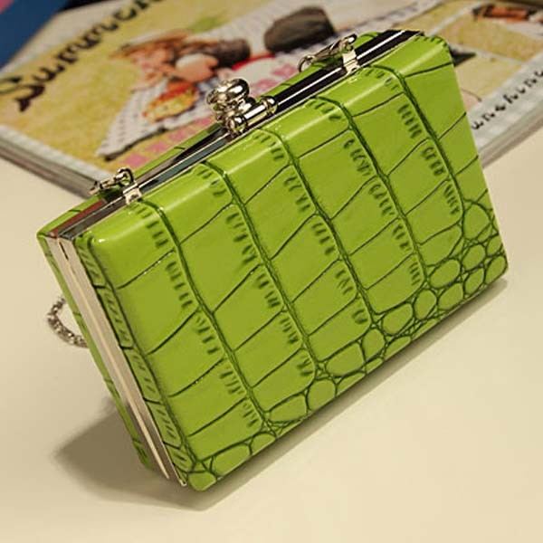 Bz7099 Fashion fake crocodile printed patent leather women clutch bags