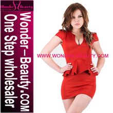 Short Sleeves Cut Out Front Adorn Waist Red Sexy Formal Dress