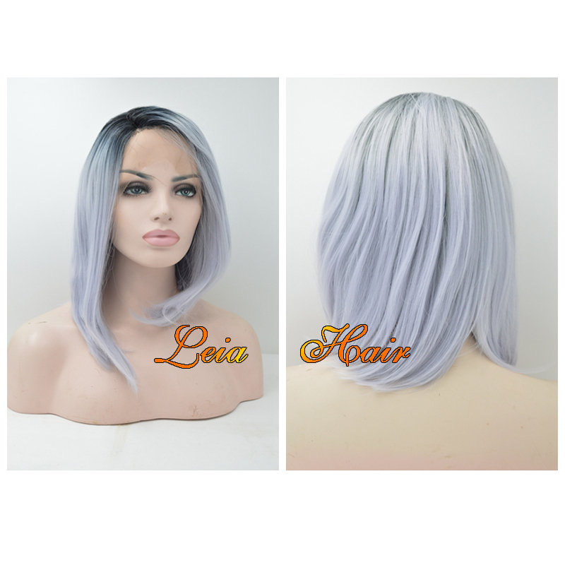 Grey Ombre Wig Synthetic Lace Front Bob Wig Heat Resistant Cheap Kanekalon Hair Dark Roots Glueless Short Wigs For Black Women