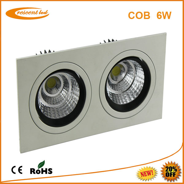 ce rohs led downlight 6w cob square recessed led downlight