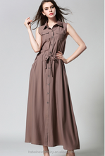 2015 new fashion women's clothing pure color beach dress lapel with long mop sleeveless loose shirt dress