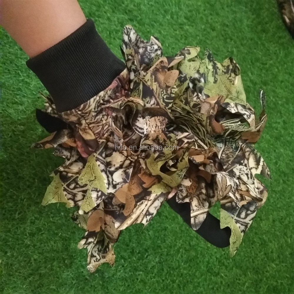 Wood Leaf Camouflage Gloves,Camo Hunting Gloves