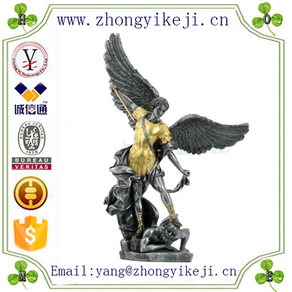 2015 chinese factory custom made handmade carved hot new product resin archangel michael