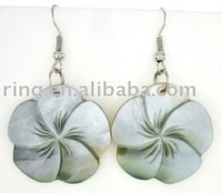 ELEGANT HAND CARVED MOTHER-OF-PEARL earrings