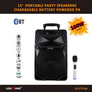 "12""/15"" trolley active outdoor DJ PA amplifier speaker with wireless microphone ,bluetooth function"