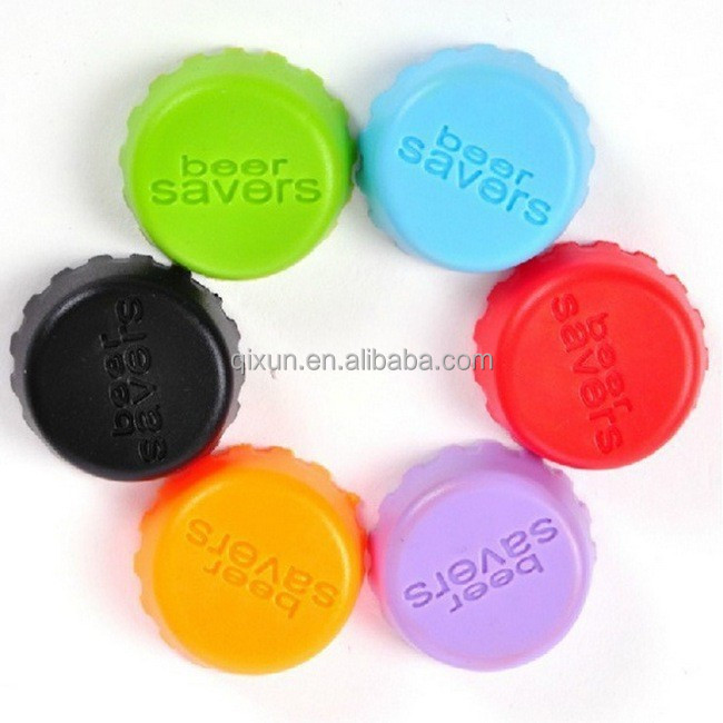free shipping Candy colors Eco-friendly silicone beer saver to keep fresh wine, beer saver reusable silicone bottle cap