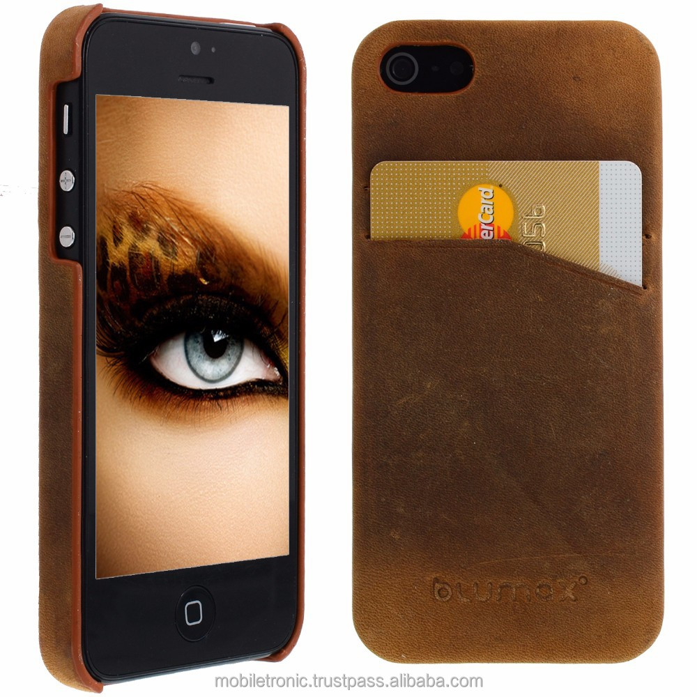 Geniune Leather Backcover case for iPhone 5S / 5 Antic light Brown Cow Leather